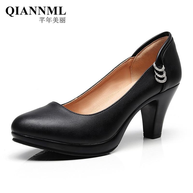 aliexpress.com - Big Size Platform Shoes Woman Heels 2018 Spring Fall Block  Heel Pumps Women High Heels Office Shoes Black Footwear 41 42 43 - imall.com 5dbaa63823c9