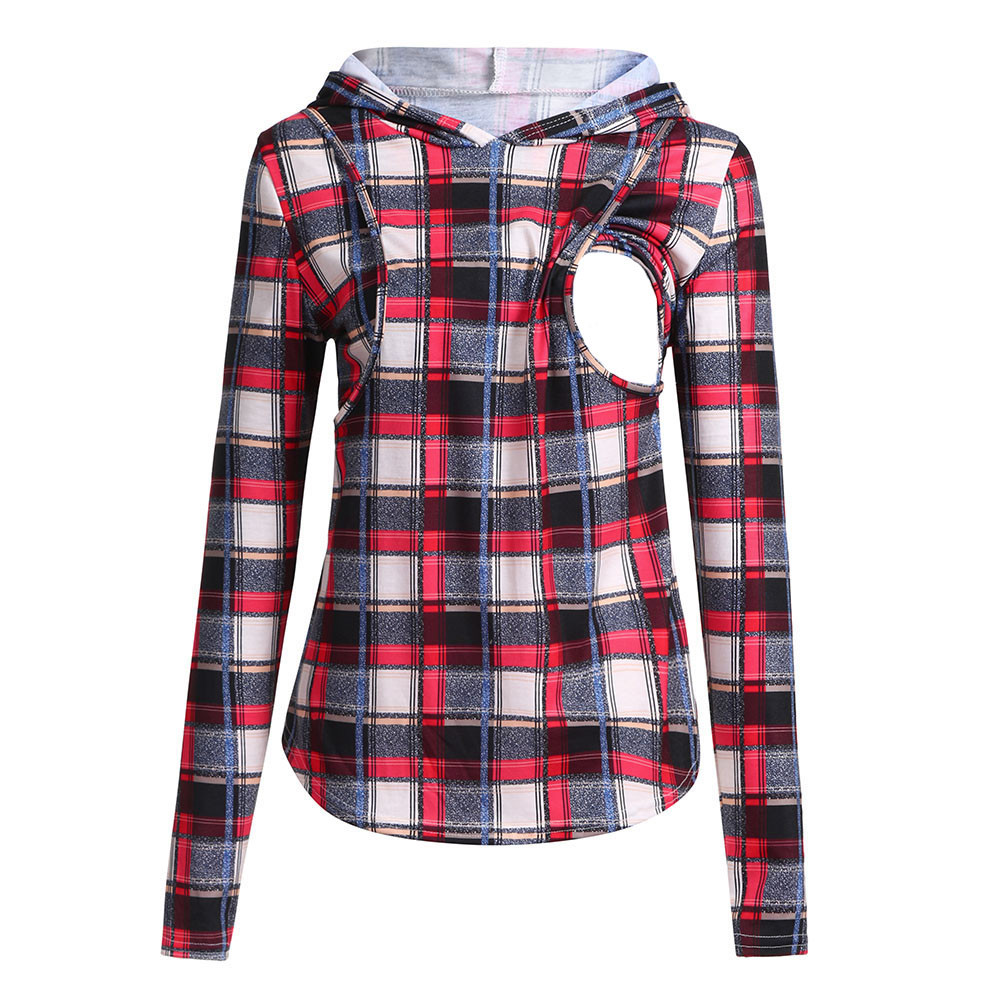 Women Pregnant Mom Nursing Top Baby Maternity Clothes Plaid Hoodie Tops Pregnancy Shirt Breastfeeding Clothes Ropa Maternidad