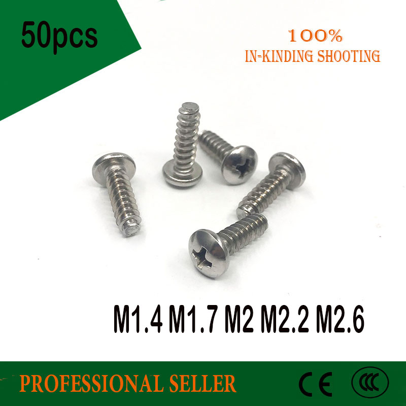 M1.4 M1.7 M2 M2.2 M2.6 304 Stainless Steel Round Pan Head Flat Tail Self-tapping Phillipps Screw Bolt pwb 40pcs 304 stainless steel phillips round head flat tail self tapping screws with collar m2 m2 6 m3 m4 4 20mm screw