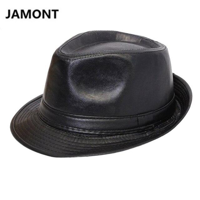 Sombrero de jazz de cuero para hombre Sombrero de Panamá de cuero Sombrero de piel de oveja Sombrero de fieltro Sombreros de cuero MPGMmn