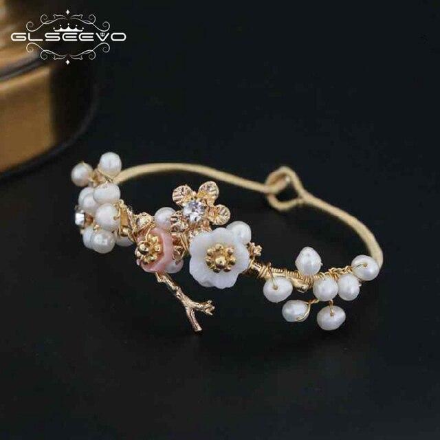 1afcc574a448 GLSEEVO Natural de agua dulce Perla Barroca de la pulsera para las mujeres  Shell flor pulseras