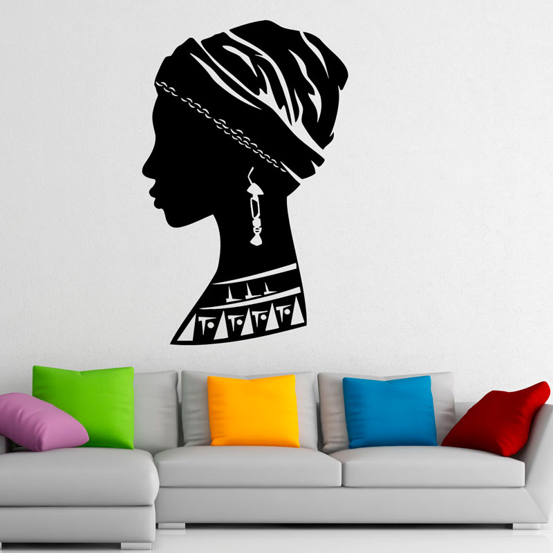 <font><b>African</b></font> Girl Removable Wall Sticker For Bedroom Beautiful Woman Wall Decals <font><b>Home</b></font> <font><b>Decoration</b></font> PVC Creative Art Stickers
