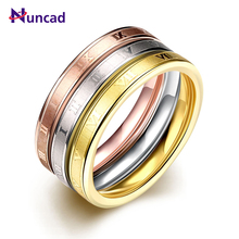 Nuncad Fashion Wedding Jewelry 3 Pieces Ring Male Female Gold Color Stainless Steel Ring Birthday Anniversary Gift