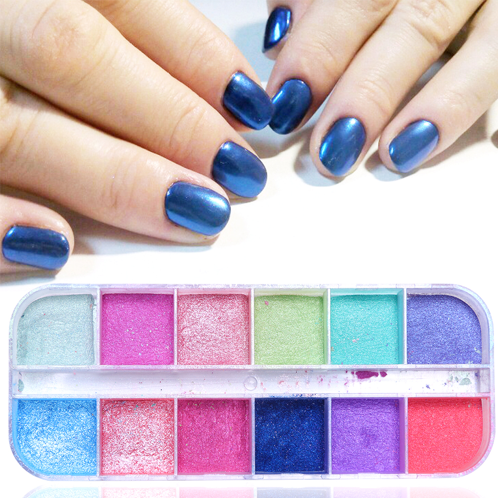 Image 2 - 12 Grid Glitter Nail Chrome Powder Dust Super fine Colorful Shimmer Flake Set Dipping Nail Art Pigment Decoration Manicure CHZGF-in Nail Glitter from Beauty & Health