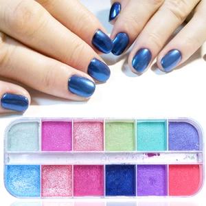 Image 3 - 12 Grid Magic เล็บ Chrome ผง RUB Pearl Fine ที่มีสีสัน Shimmer Dipping Glitter Nail Art Pigment ตกแต่งเล็บ CHZGF