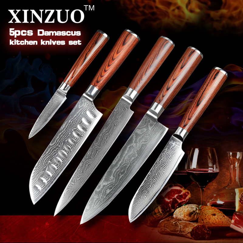 XINZUO 5 pcs kitchen font b knives b font set 73 layers Damascus kitchen font b