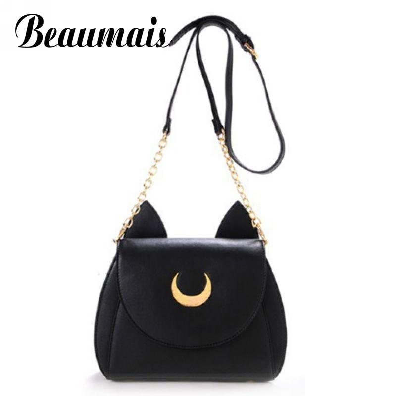 Beaumais 2017 Sailor Moon Chain Shoulder Bags Luna Cat PU Leather Handbags Women Messenger Bags Crossbody Small Bag Ladies VK261