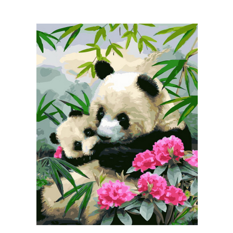Baby Panda And Flower Hand Made Paint High Quality Canvas Beautiful Painting By Numbers Surprise Gift Great Accomplishment