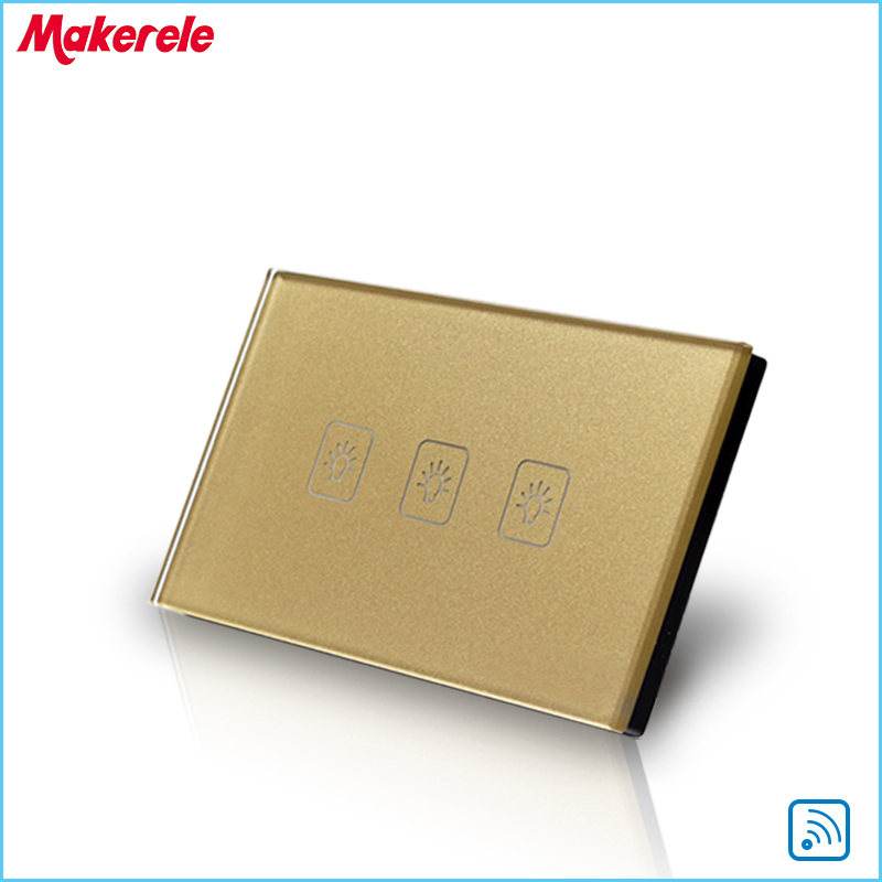 Remote Switch Wall Light  Free Shipping 3 gang 1 way Remote Control Touch Switch US Standard Gold Crystal Glass Panel+LED remote wireless touch switch 1 gang 1 way crystal glass switch touch screen wall switch for smart home light free shipping
