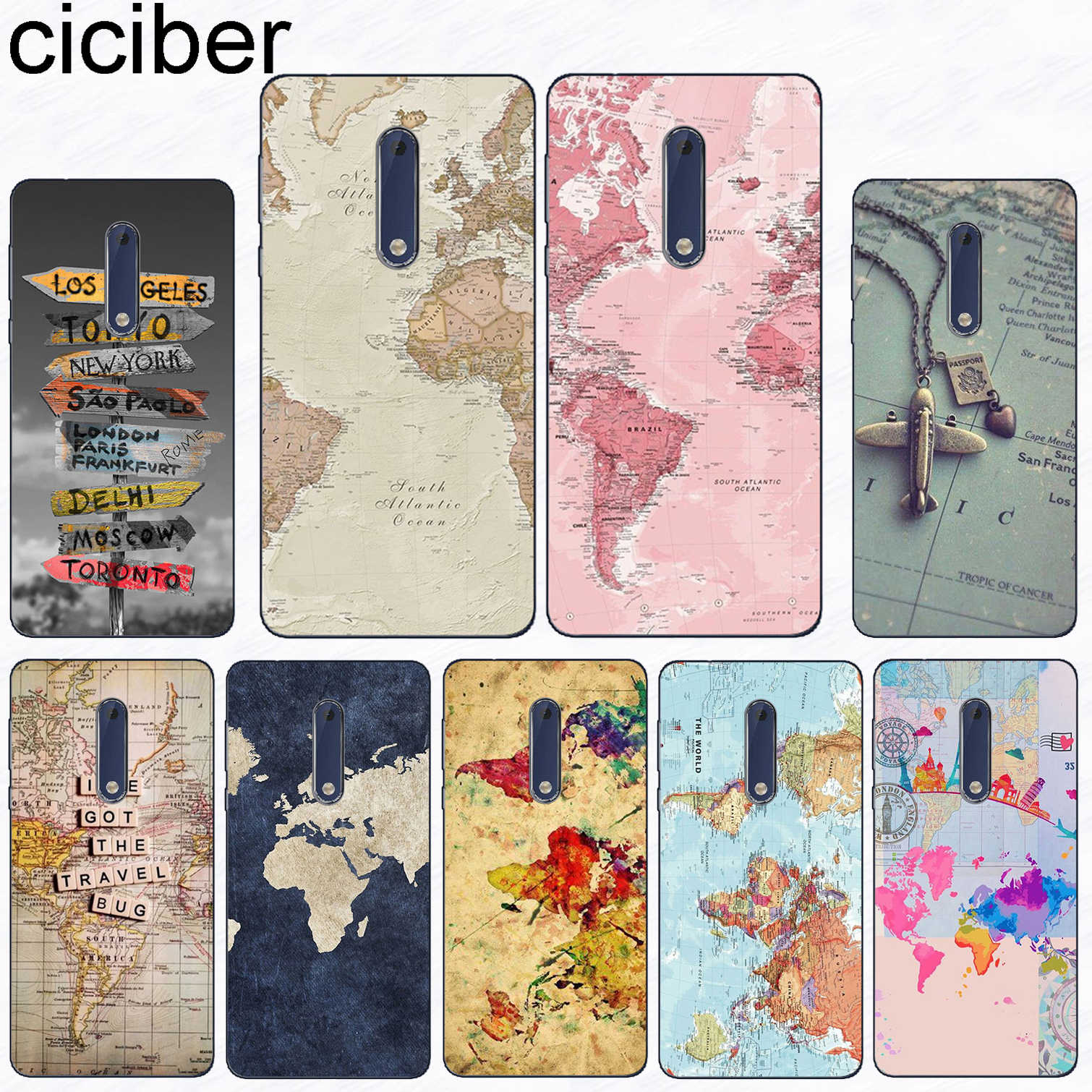 ciciber For Nokia 8 7 7.1 6 6.1 5 5.1 3 3.1 2 2.1 1 Plus Soft TPU Phone Case For Nokia X7 X6 X5 X3 World Map Travel Plans Fundas