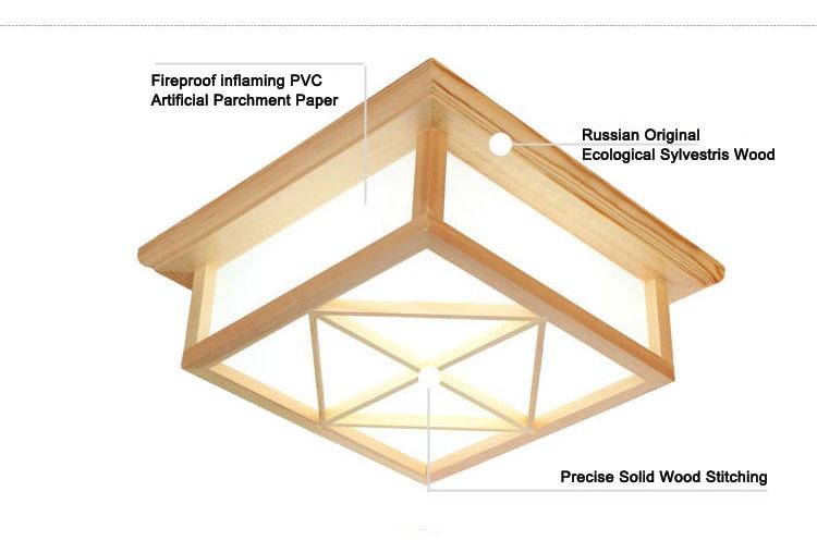 Modern Square Surface mounted OAK Wood PVC lamparas de techo home wooden led ceiling lamp fixture