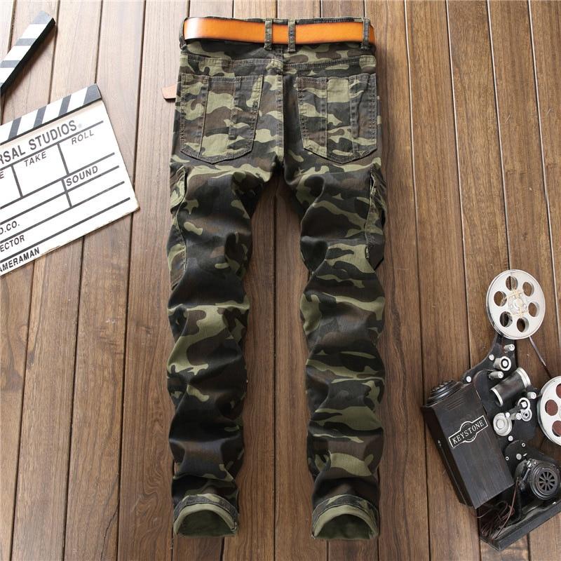 Militaire Mince Difficulté Maigre Hommes Denim Camouflage Hip Biker Fit Déchiré Designer Punk Jeans De Piste 2018 Club Hop En AAqWUc1r