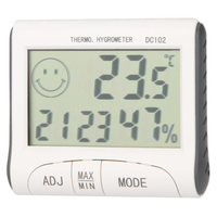 4Pcs LCD Digital Hygrometer Humidity Thermometer Temperature Meter With Clock