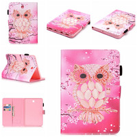 Top Quality Flower Print PU Leather Stand Flip Smart Case Cover For Samsung Galaxy Tab S2
