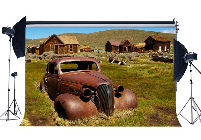 West Cowboy Backdrop Rural Old Wood House Backdrops Vintage Ruined Car Mountain Green Grass Meadow Background