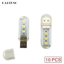 LATTUSO 10PCS Mini USB LED Book lights 5730 Lamps Camping lamp For Laptop Computer Mobile Power Charger Reading Bulb Night light