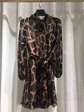 Leopard Silk Dress 2019 Spring Summer Top Brand High Quality Italy Fashion Ladies Luxury Dresses