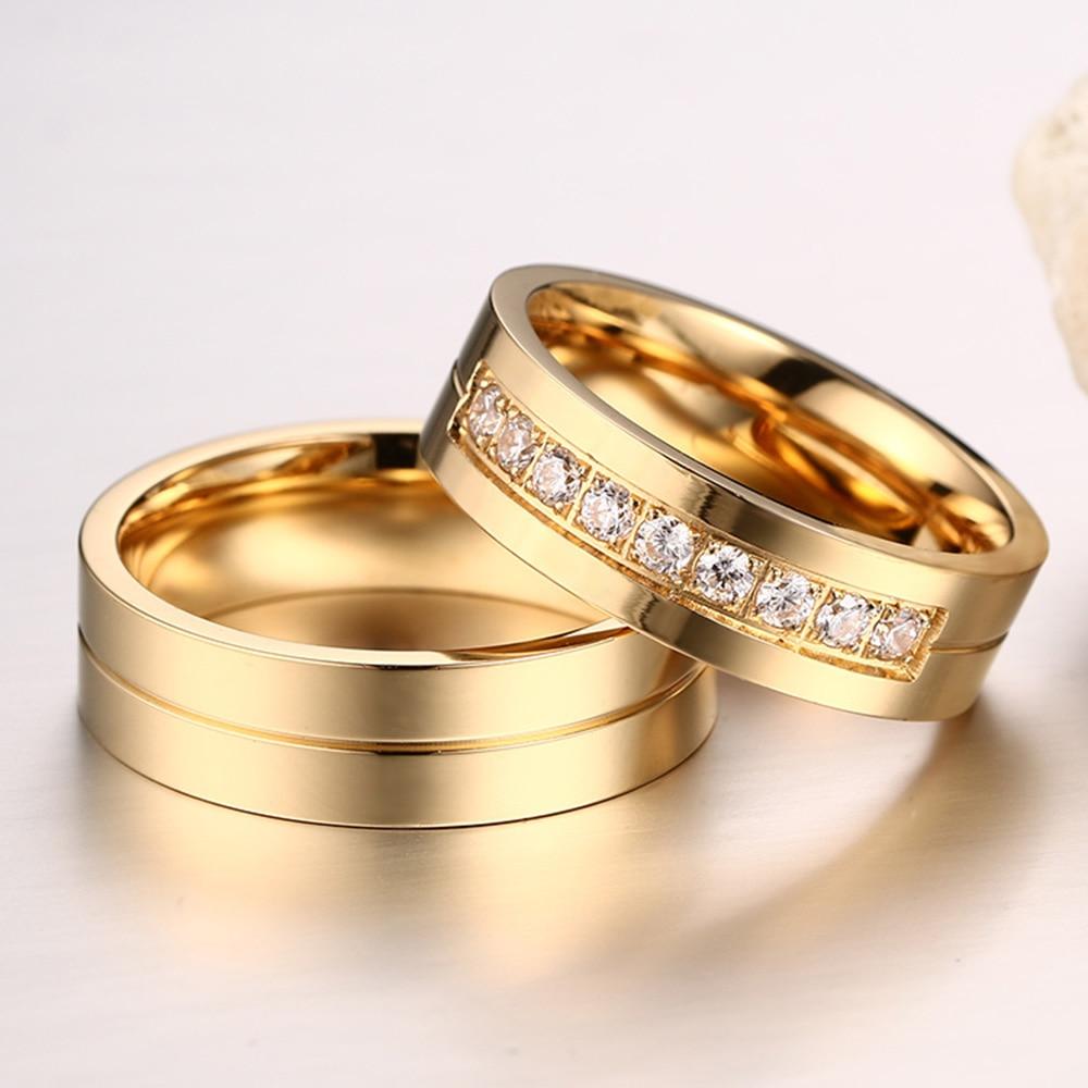AAA + Cubic Zirconia Par Ring Guldfärg Ring för Kvinnor Man - Märkessmycken - Foto 4
