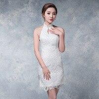 Modern Cheongsam Sexy Qipao White Halter Chinese Traditional Dress Oriental Style Dresses China Clothing Store Chino Tradicional