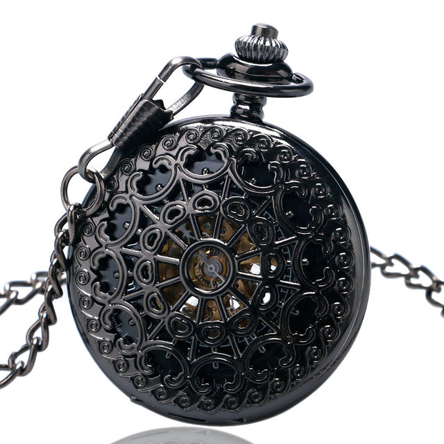 2015 Hot Sale Fashion Retro  Mechanical Alloy Skeleton Case Pocket Watch For Men Women Girl Ladies Necklace Clock Watch P825C