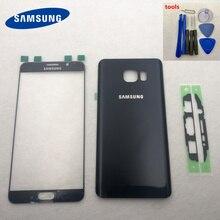 Note5 Arka pil bölmesi kapağı arkası Cam Konut Kapak Ön Dokunmatik Panel Dış Lens Samsung Galaxy Not 5 Için N920 N920F N9200 N920FD