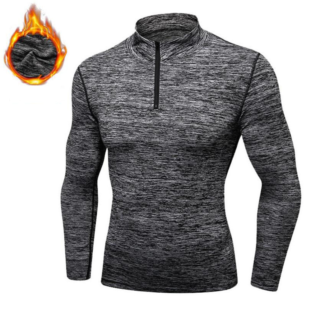 Winter Cashmere PRO Men Fitness Running Training Long Sleeves Flexible Tights Sweater Exercise Sportswear Muscles Tight Suit