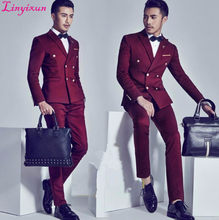 Linyixun 2017 Burgundy Double Breasted Groom Tuxedos Fashion Mens Wedding Prom Party Suits Italian Style Gentleman Suit(China)