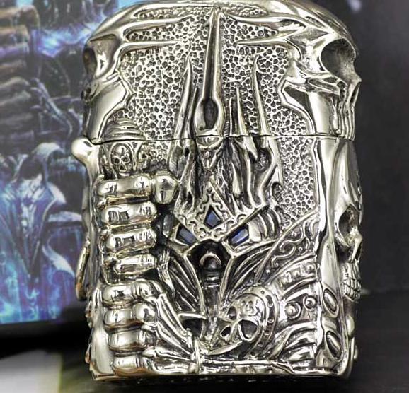 Wrath of the lich king original DIY manual sculpture Tibetan silver lighter - world of warcraft