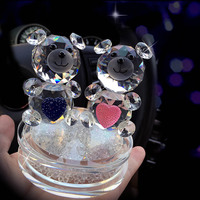 Cristal de mode Ours Figurines avec le Strass Base En Verre Couple de Coeur Ours pour le Cadeau De Mariage DEC124