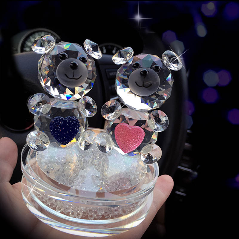 Fashion Crystal Bear Figurines with the Rhinestone Base Glass Couple of Heart Bear for Wedding Gift DEC124