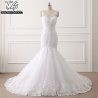 Customized Made Spaghetti Straps Plus Size Crystals Mermaid Wedding Dress 3204 Famous Design Bridal Gown