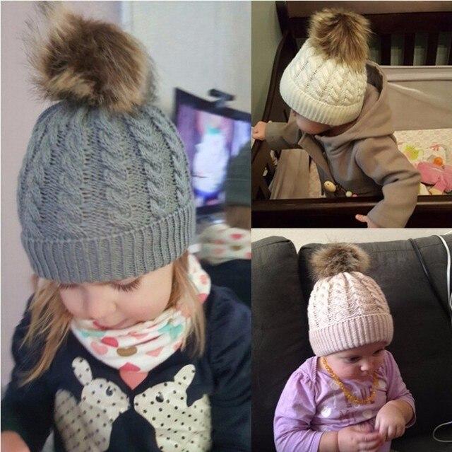 Los niños lindos invierno niños bebé caliente sombreros tejidos de lana  Hemming accesorios Kid Caps niñas 0c83117a72f