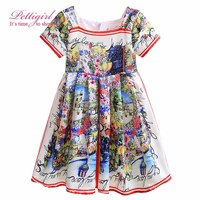 2017 New Girls Dress Printed Girl A-line Dress Flower Summer Dresses For Baby Kids Patterns Outfits GD90225-644F