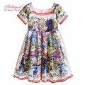 Las niñas se visten 2017 pettigirl nuevo impreso ropa de la muchacha de flor vestidos de traje de verano para bebés niños patrones trajes gd90225-644f