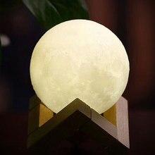 USB Перезаряжаемый 3D принт луна лампа 2 вида цветов сенсорный офисный стол дисплей artware светильник Декор blub креативный светильник заряжаемый