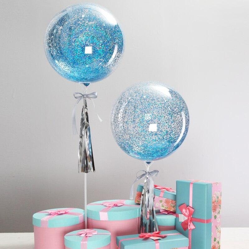 Princess Frozen Theme Blue Glitter Birthday Bubble Balloon