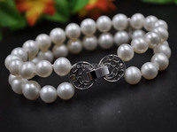 AA 7 2Strands 8mm near round white cultured pearl bracelet free shipping