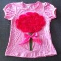 girl pink tshirts kids children t-shirts flower rose shirts tees pattern summer dress