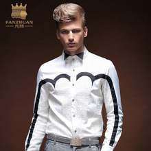 FANZHUAN Mens Long Sleeve Shirt Tail Dresses Shirts Men's Dresses Shirts Fashion Geometric Slim Lace White Wedding Shirts M-5XL