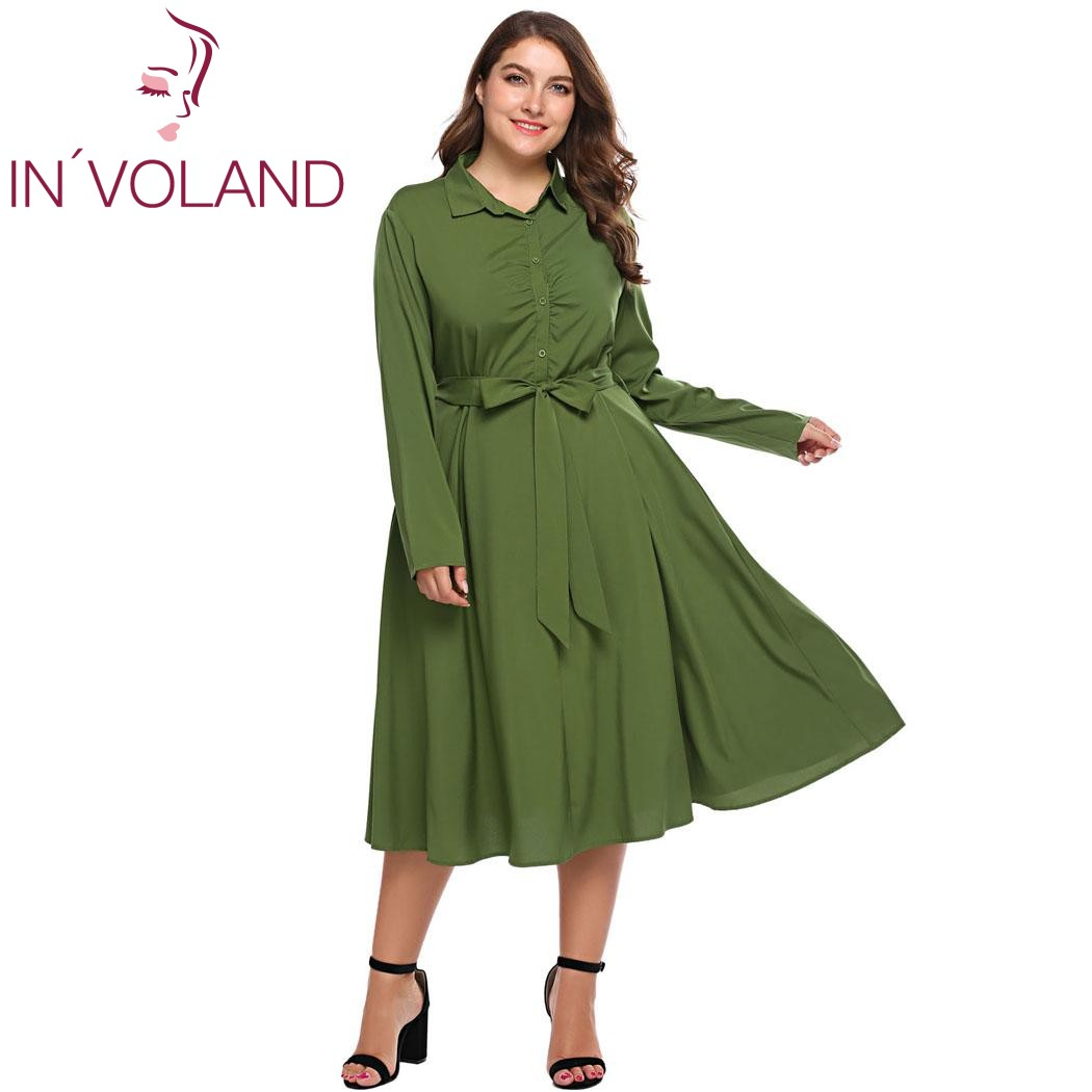 IN'VOLAND Femmes Robe Chemise Plus La Taille XL-5XL Automne Vintage Turn Down Collar Belted Partie A-ligne Grande Robes Robes Grande Taille