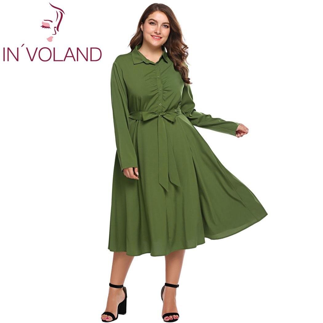 IN'VOLAND Femmes Robe Chemise Plus La Taille XL-5XL Automne Vintage Turn Down Collar Belted Partie A-ligne Grande Robes Robes Grande Taille