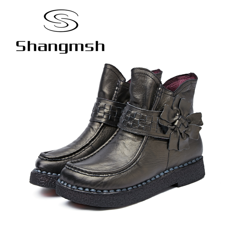 Shangmsh Brand Women's Winter Boots 2017 Retro Handmade Genuine Leather Ankle Boots Soft Casual Ladies Autumn Shoes shangmsh brand women s winter boots 2017 retro handmade genuine leather ankle boots soft casual ladies autumn shoes