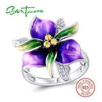 Silver Ring For Women Enamel Pure 925 Sterling Silver Ring CZ Stone Fashion Jewelry HANDMADE