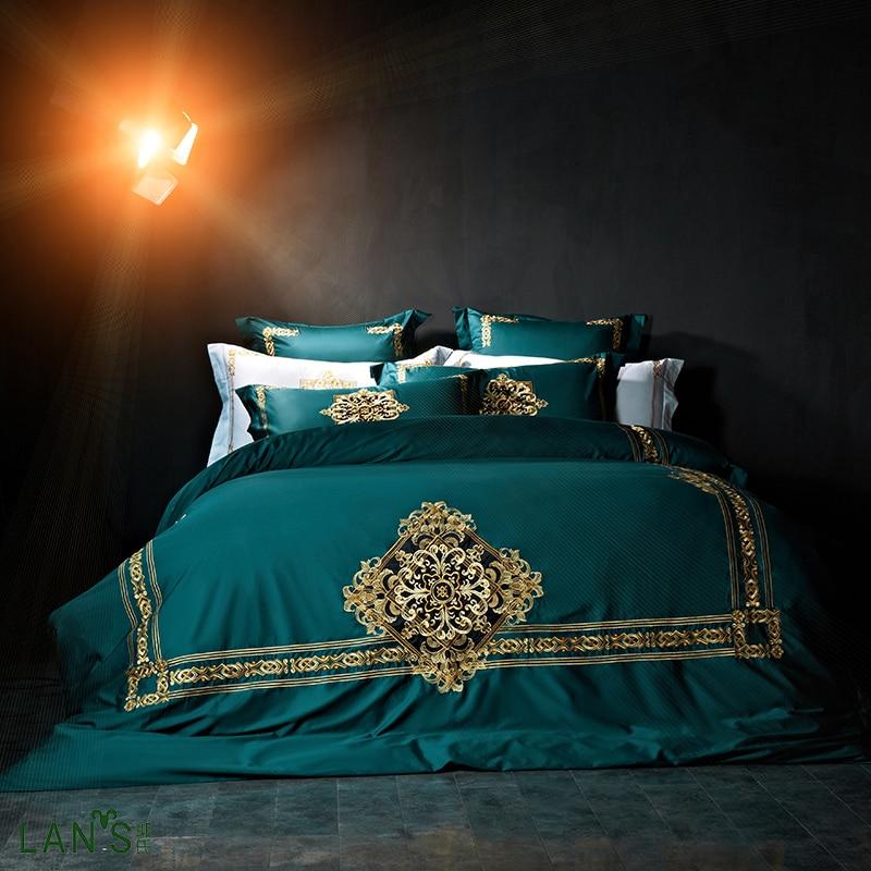 Rococo Design Palace Royal Blue 100 Cotton 4pcs Bedding