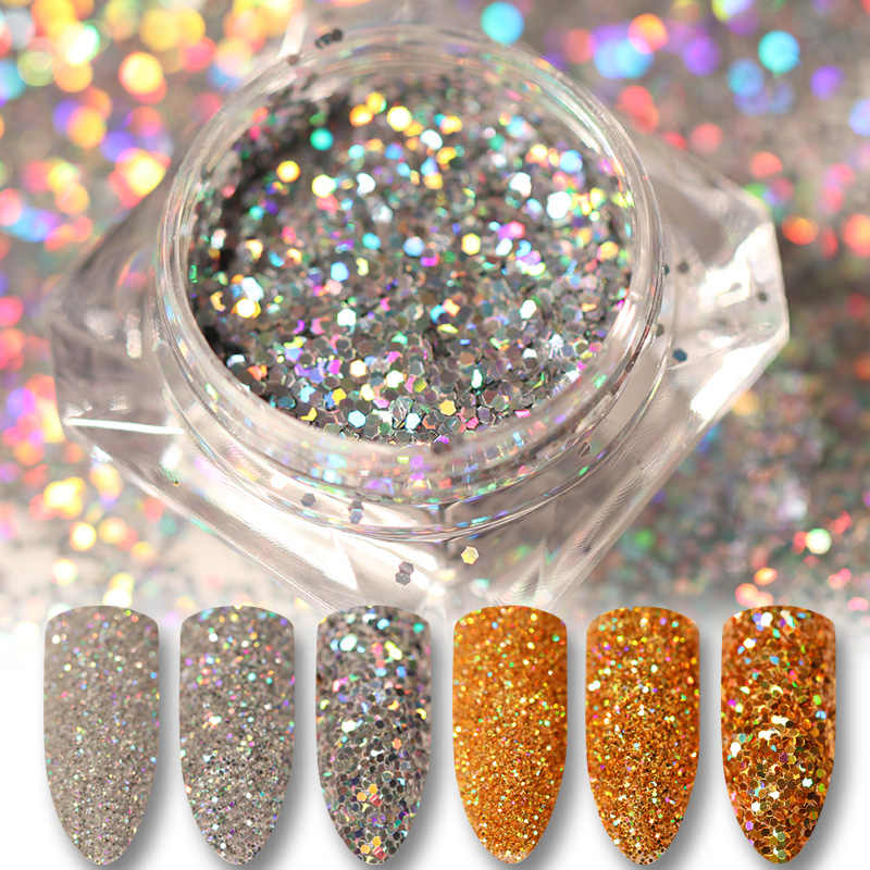 Holographic Glitter ผง Holo Gold Silver เลเซอร์ Paillette เล็บความงามเล็บ Sequins