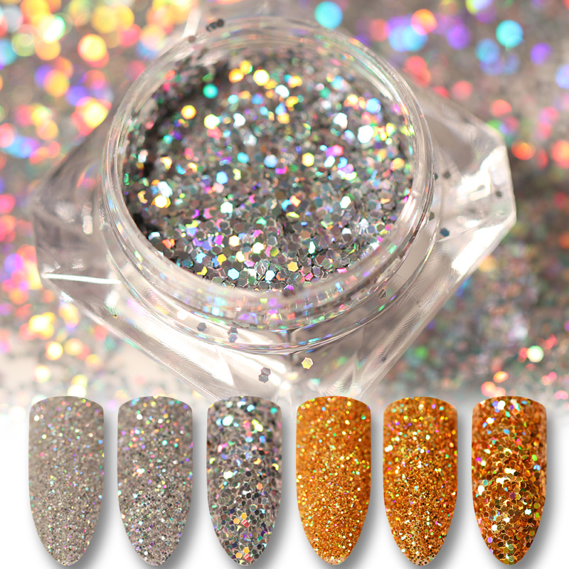 Glitter Powder Holo Gold Silver Laser Paillette  Beauty Nail Art Sequins