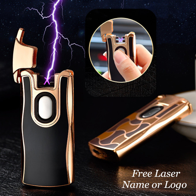USB Electric Dual Arc Metal Lighter Rechargeable Plasma Lighter Cigarette Sensing Pulse Cross Thunder Ligthers Free Laser Name-in Cigarette Accessories from Home & Garden