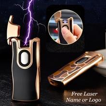 USB חשמלי כפולה קשת מתכת מצית נטענת פלזמה מצית סיגריות חישה דופק צלב רעם Ligthers משלוח לייזר שם