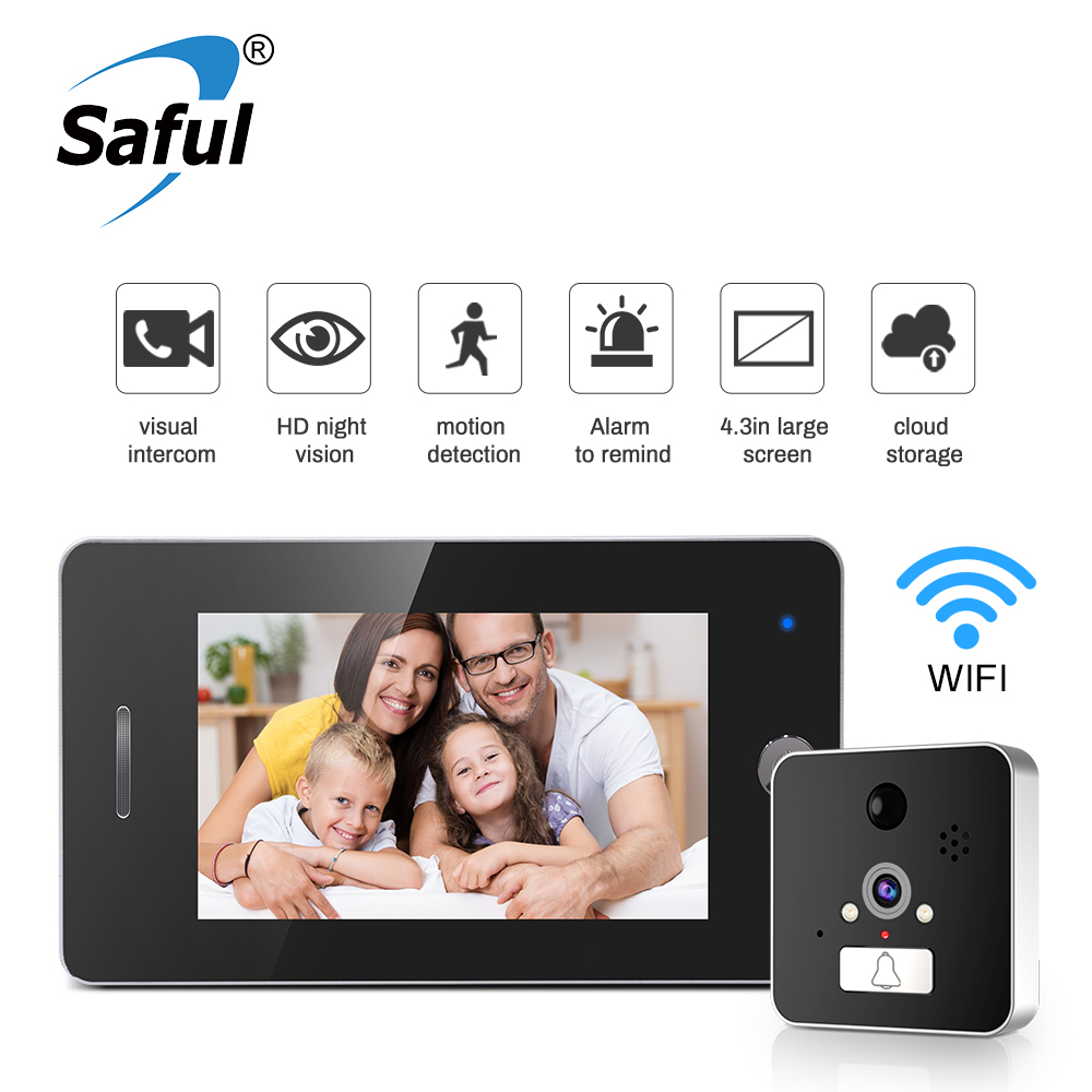 Saful 4.3'' LCD Wifi Door Peephole View 960P Door Camera With Motion Detection Video Recording APP Control For IOS Andriod