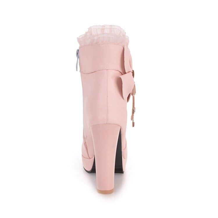 daa4f72b ... blanco rosado Tacones Volantes Bota Pxelena 43 Negro Dulce Botas Zapatos  Boda Corta Negro De Blanco